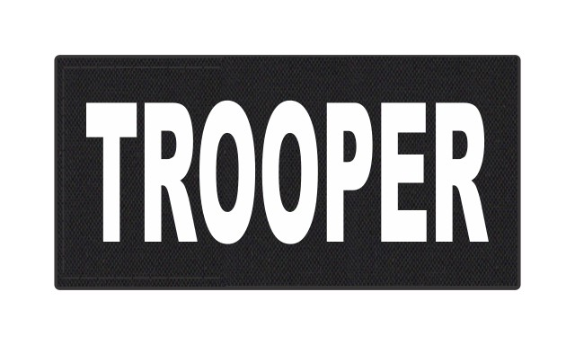 TROOPER ID Patch - 4x2 - White Lettering - Black Backing - Hook Fabric