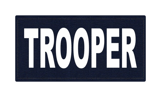 TROOPER ID Patch - 4x2 - White Lettering - Navy Backing - Hook Fabric