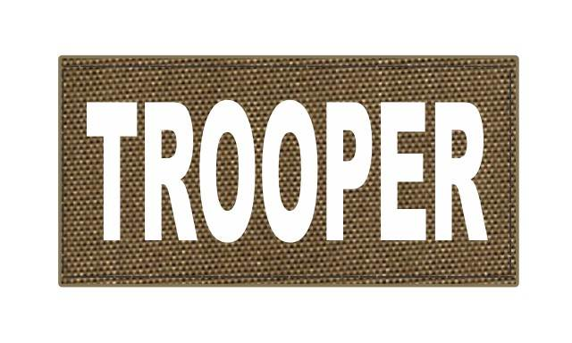 TROOPER ID Patch - 4x2 - White Lettering - Tan Backing - Hook Fabric