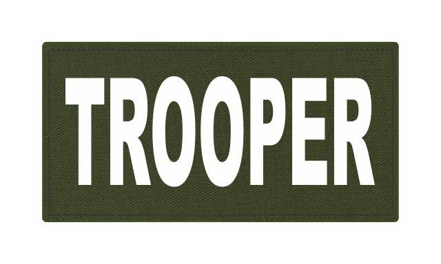 TROOPER ID Patch - 4x2 - White Lettering - OD Green Backing - Hook Fabric