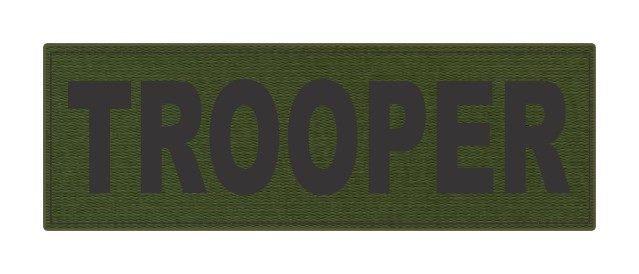 TROOPER ID Patch - 6x2 - Black Lettering - OD Green Backing - Hook Fabric