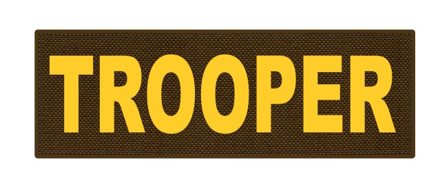 TROOPER ID Patch - 6x2 - Gold Lettering - Coyote Backing - Hook Fabric