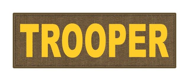 TROOPER ID Patch - 6x2 - Gold Lettering - Tan Backing - Hook Fabric