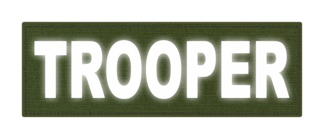 TROOPER ID Patch - 6x2 - Reflective White Lettering - OD Green Backing - Hook Fabric