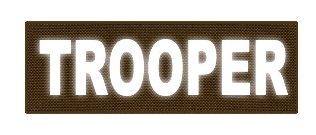 TROOPER ID Patch - 6x2 - Reflective White Lettering - Coyote Backing - Hook Fabric