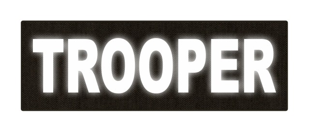 TROOPER ID Patch - 6x2 - Reflective White Lettering - Ranger Green Backing - Hook Fabric