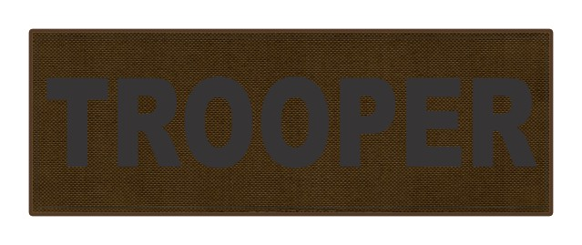 TROOPER ID Patch - 8.5x3.0 - Black Lettering - Coyote Backing - Hook Fabric