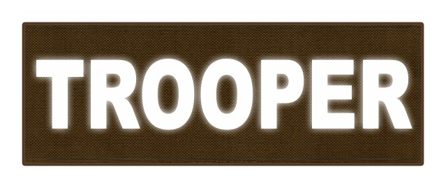 TROOPER ID Patch - 8.5x3.0 - Reflective White Lettering - Coyote Backing - Hook Fabric
