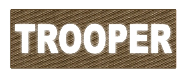 TROOPER ID Patch - 8.5x3.0 - Reflective White Lettering - Tan Backing - Hook Fabric
