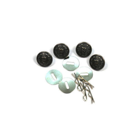 Uniform Shirt Buttons - 'P' in Wreath - Silver Oxide - Set of 4