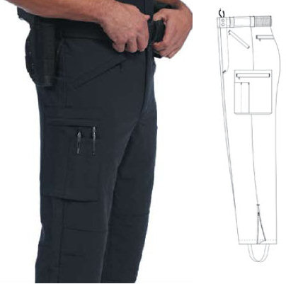 United Uniforms Nylon/Lycra Bike Patrol Stretch Pants, Zip-Off