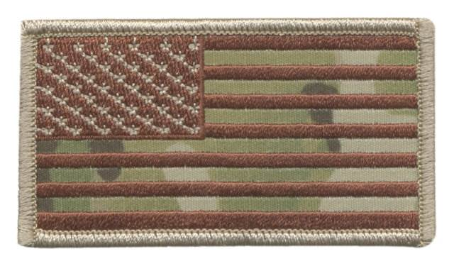 USA Flag Patch, Military Sized - Desert MultiCam OCP - Normal Orientation - Hook Backing