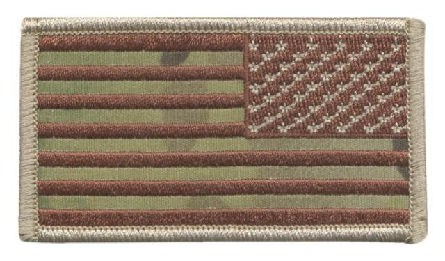 USA Flag Patch, Military Sized - Desert MultiCam OCP - Reverse Orientation - Hook Backing