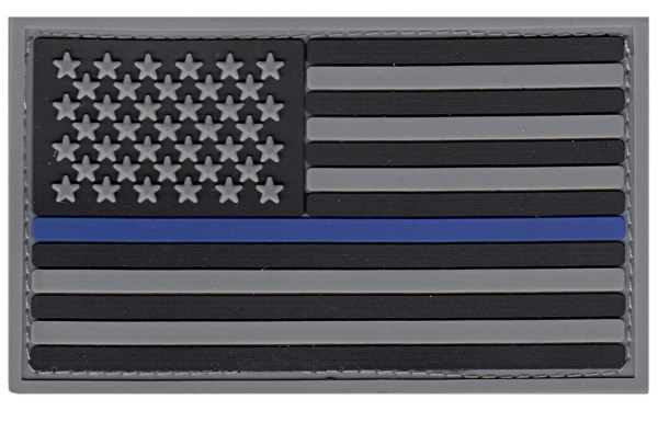 USA Flag PVC Patch - Thin Blue Line with Hook backing