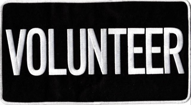 VOLUNTEER Back Patch - 11 x 6 - White Lettering - Black Backing - Sew on